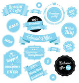 Set of Premium Vector Stickers and Ribbons Blue — 图库矢量图片