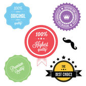 Set of Colorful Premium Vintage Retro Labels — Stockvector