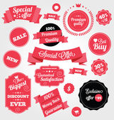 Set of Premium Vector Stickers and Ribbons — Stock Vector