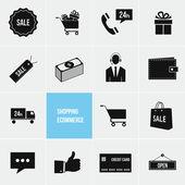 Shopping ed e-commerce vector set icone — Vettoriale Stock