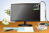 Desktop with monitor — Stock Vector