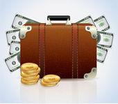 Suitcase Full Of Money — Stock Vector