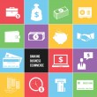 ストックベクタ: Colorful Business Ecommerce and Banking Money Icons Set