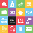 Stockvector : Colorful Business Ecommerce and Banking Money Icons Set