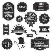 Set of Vintage Retro Stickers Labels and Ribbons — Vector de stock