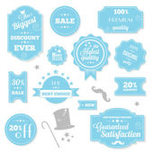 Set of Vintage Retro Stickers Labels and Ribbons Blue — Stockvector