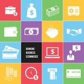 Kleurrijke business e-commerce en bancaire geld pictogrammen instellen — Stockvector