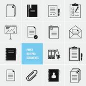 Vektor anteckningar papper dokument ikoner set — Stockvektor