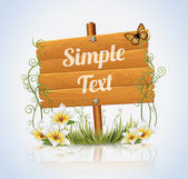 Wooden Sign Flowers Banner — Stock Vector