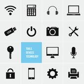 Dispositivos de ferramentas e tecnologia vector conjunto de ícones — Vetorial Stock