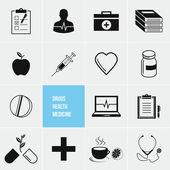 Farmaci e salute medicina vector set icone — Vettoriale Stock