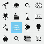 Science Education and Technology Vector Icons Set — Stock Vector