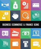 стильный бизнес электронной коммерции банковское дело и финансы деньги иконы set — Cтоковый вектор