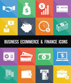 Stijlvolle zakelijke e-commerce bank- en financiewezen geld pictogrammen instellen — Stockvector