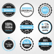 Stock Vector: Set of Retro Vintage Badges and Labels Black Blue