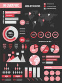 Modern Infographic Elements Set Black Red — Stock Vector