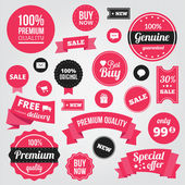 Vector Stylish Labels Badges Stickers and Ribbons — Stockvektor