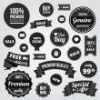Black and White Vector Labels Badges Stickers and Ribbons — Vector de stock #30107321