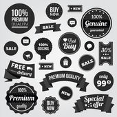Black and White Vector Labels Badges Stickers and Ribbons — Stok Vektör