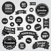 Bianco e nero vettoriale etichette badge adesivi e nastri — Vettoriale Stock