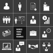 Vector Business Management and Human Resources Icons Set — Cтоковый вектор