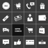 Vector Business Shopping and Ecommerce Icons Set — Stock Vector