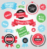 Vector Colorful Stickers Labels and Badges Set — Vettoriale Stock