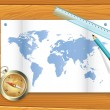 Vector de stock : Map of the world compass
