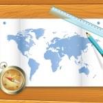 Mapa compass świata — Wektor stockowy