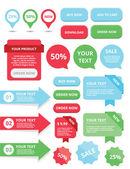 Vector de cuadros de texto de banners de web elementos botones etiquetas y cintas — Vector de stock