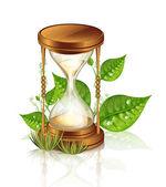 Reloj de arena y plantas — Vector de stock