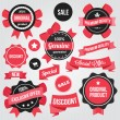 Vector Badges Stickers and Ribbons Set Red — Stock Vector #30398279