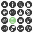 Vector Business Management and Human Resources Icons Set — Imagen vectorial