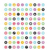 100 färgglada vector ikoner för webb och mobil — Stockvektor