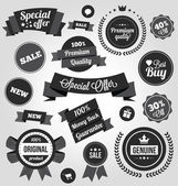 Black and White Vector Stickers Labels and Badges Set — Stok Vektör