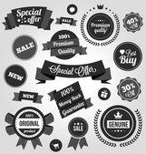 Conjunto de etiquetas y placas pegatinas vector blanco y negro — Vector de stock