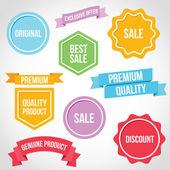 Vettore distintivi nastri e adesivi — Vettoriale Stock