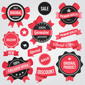 Vector Badges Stickers and Ribbons Set Red — Stok Vektör
