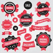 Vector emblemas adesivos e fitas conjunto vermelho — Vetorial Stock