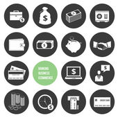 Vector Business Ecommerce Banking and Finance Money Icons Set — Vettoriale Stock