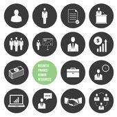 Vektor-unternehmensführung und personalwesen icons set — Stockvektor