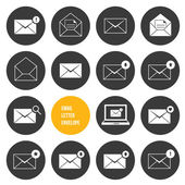 Vektorové obálky obchodní nákupní a jiné ikony e-mailu — Stock vektor