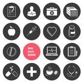 Vektor medicin hälsa och droger ikoner set — Stockvektor