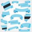 Vector Ribbons Set Blue — Stock Vector