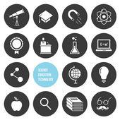 Vector wetenschappelijk onderwijs en technologie iconen instellen — Stockvector