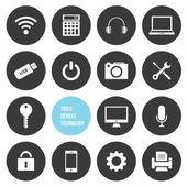 Dispositivi di strumenti vettoriali e set di icone di tecnologia — Vettoriale Stock