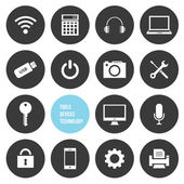 Vektör araçları cihazlar ve teknoloji icons set — Stok Vektör