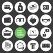 Vector comércio eletrônico de negócios bancários e financiar o conjunto de ícones de dinheiro — Vetorial Stock