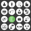 Stock vektor: Vector Business Management and HumResources Icons Set