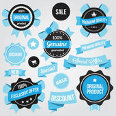 Vector Badges Stickers and Ribbons Set Blue — Stok Vektör